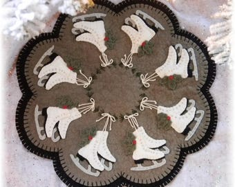 ICE SKATES, Penny Lane Primitives Wool Applique Candle Mat    Pattern only #162