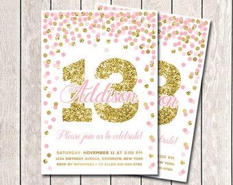 Pink And Gold Confetti Birthday Invitation 13th Birthday Invitation Girl Birthday Invitation Printable Pink And Gold Confetti Birthday Party