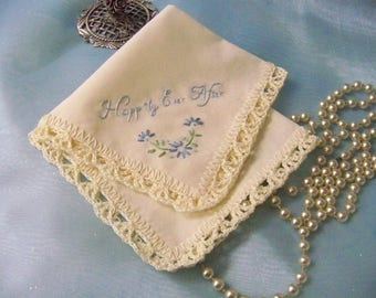 Bridal Handkerchief, Wedding Hanky, Something Blue, Happily Ever After, Embroidered, Personalized, Ready to ship