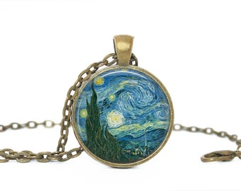 Starry Night pendant. Van Gogh. Art lover. Gift. Comes as a necklace or keychain.