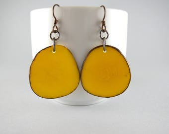 Sunshine Yellow Tagua Nut Eco Friendly Earrings with Free USA Shipping #taguanut #ecofriendlyjewelry