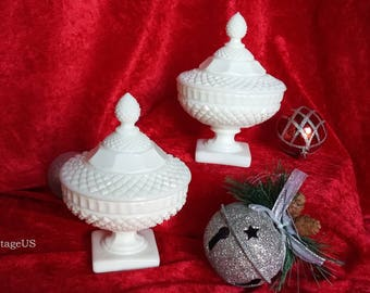 Westmoreland English Hobnail Milk Glass Covered Dishes (2)