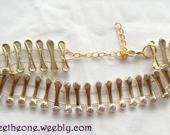 Choker Necklace with golden bars and rhinestones for children