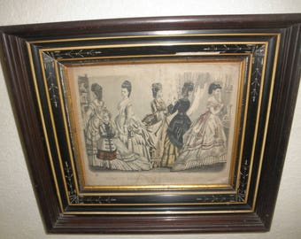 Godeys Fashions Print January 1872 in Wood Framed with Design