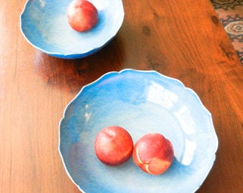 Large Sky Blue Lotus Ceramic Bowl/ Fruit Bowl/ Serving Bowl