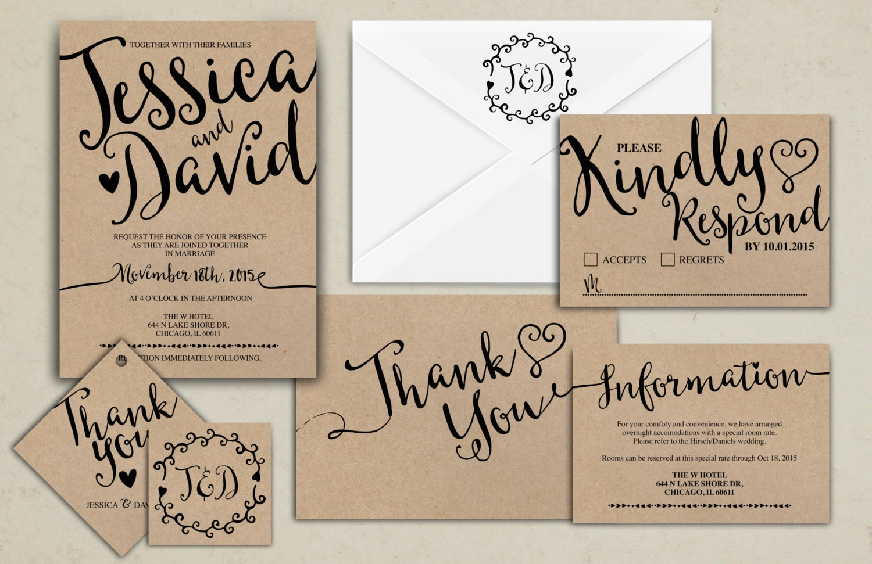 Floral, rustic, BOHO, Wedding Invitation Printable, Kraft,Wedding ...