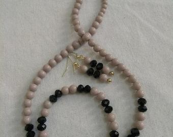 Tan and Black Jewelry Set
