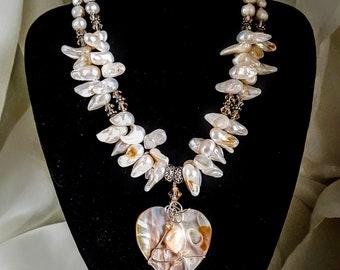 Fresh Water and Biwa Pearl Double Strand Necklace with Swarovski Crystal