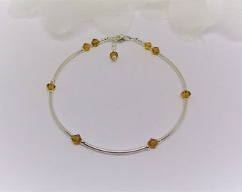 Topaz Ankle Bracelet Brown Anklet Topaz Anklet Brown Ankle Bracelet Crystal Ankle Bracelet Fall Colors Fall Jewelry BuyAny3+Get1 Free