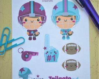 Football Player Planner Stickers with Bonus Erin Condren Life Planner Cute Planners Happy Planner Sticker Sheet Character Sticker Sheet