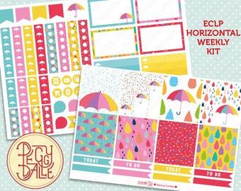 Raining Confetti Dots Weekly Kit Planner Stickers | Erin Condren Horizontal | Sprinkles | Umbrella | Weather | Rain