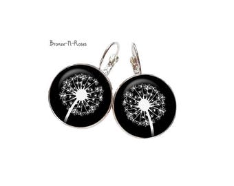 Earrings * collection black and white flowers * dandelion earrings nature glass
