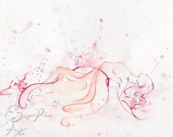 Watercolour Dancer Print, pink and purple abstract watercolor ballerina, gift for recital and dancers