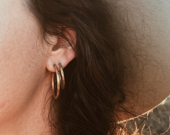ORBIT>> stud hoops / brass or sterling silver