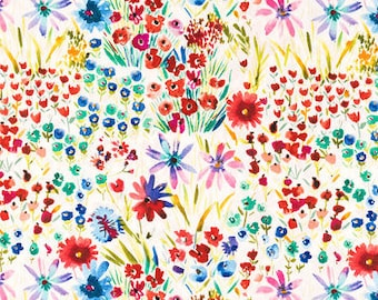 Watercolor wildflower  apparel   floral  fabric  Fabric  fat quarter, 1/2yard. or by the  yard Cotton  quilting apparel fabric