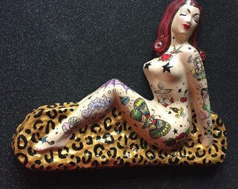 Tattooed Lady Wall Hanging ... Custom Hand Painted One of a Kind Decor