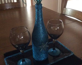 Winter/Christmas Wine Bottle and Glass Centerpiece