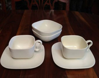 Franciscan Metropolitan Tiempo Gray (Stone) Two Cups, Saucers and Bowls