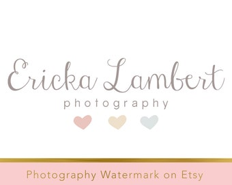 Instant download logo - pre-made Logo Design - Photography Watermark - Watermark Design - Heart Logo - Whimsical Logo - Photography Logo 172