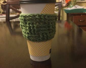 Crochet Coffee Cozy; Basketweave Crochet Coffee Cozy; To Go Coffee Cup Cozy;