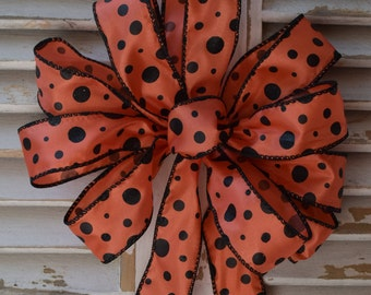 Halloween Bow, Fall Bow, Autumn Bow, Cornstalk Bow, Wreath Bow, Basket Bow, Orange and Black Bow, Polka Dot Bow, Decorative Bow, Railing Bow