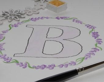 Lavender letter wreath