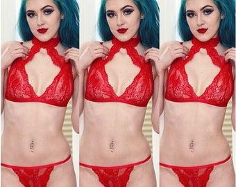 Red Rose Choker Bralette & Brief Set