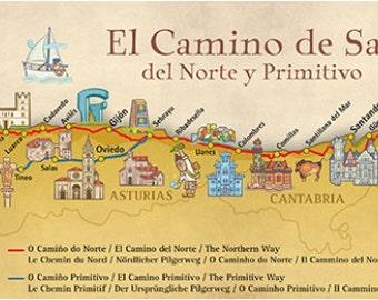 Camino De Santiago Del Norte / Primitive Pilgrim Poster Map