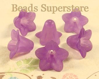 FINAL SALE 18 mm x 12 mm Purple Lucite Flower Bead - 10 pcs