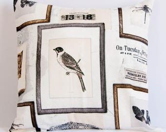 Bird pillow cover, ornithology cushion cover, birdwatcher pillow case, brown and white throw pillow cover
