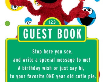 Sesame Street Elmo Guest Book Sign for 1 year old girl