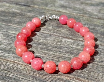 Handmade bracelet with watermelon pink jade gemstone and glass beads