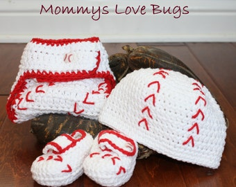 Play Ball Crochet Baseball Beanie, Booties, and Diaper Cover Set - Newborn through 12 month Sizes Available
