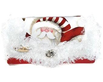 Holiday purse, Holiday bags, Holiday handbag, Wristlet purse, Organizer purse, Clutch wallet, Cash envelope wallet, Santa purse