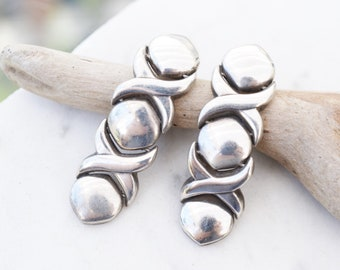 Modern Sterling Silver Mexican X and O Earrings, Modernist Sterling Earrings, Sterling Silver Taxco Earrings, Taxco Sterling Silver Jewelry