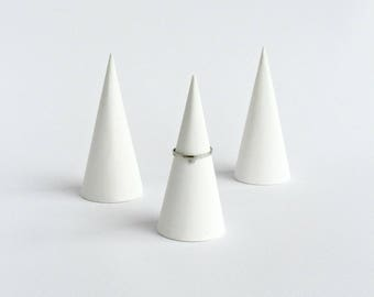 White Ring Holder - Scandinavian Ring Cones - Concrete Ring Cones -Concrete Ring Holder -Minimalist Jewelry Display -Scandinavian Decoration