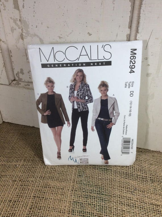 McCalls M6294 sewing pattern, Uncut McCalls pattern for Misses lined jackets in three lengths, McCalls generation next pattern size 12-18
