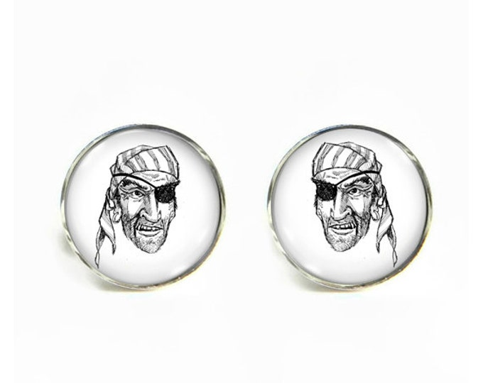 Pirate small post stud earrings Stainless steel hypoallergenic 12mm Gifts for her