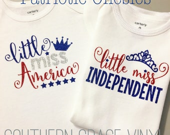 Little Miss Independent | Little Miss America | 4th of July | Memorial Day | Patriotic Onesie