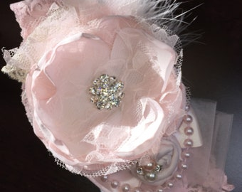 Flower Girl Hair Accessories, Baby Headband, Flower Headbands, Pink Flower Headband, Pink Hairbow, Dollcake, Hair bows, Baby Shower Gift