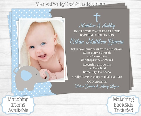 Elephant Baptism Invitation Christening Baptismal Boy First