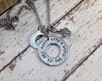 Love you to the Moon and Back Charm Necklace, hand stamped, anniversary gift, birthday