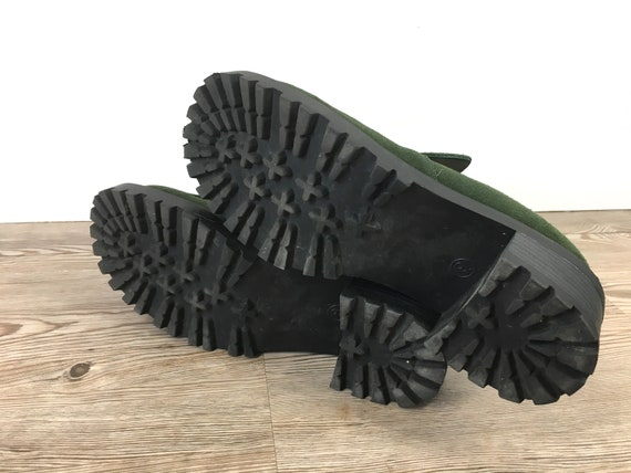 Leather Loafers UK 7 40 Green Vintage 9 Block Men Sole Booties Chunky Slip 5 Heel Euro Women US Unisex Suede US Platform 90s On Lug 7 qFUUtX