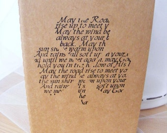 Irish Blessing Kraft extra large Journal Cahier Moleskine Journal Notebook Handmade Vintage Style  Perfect for Wedding Favor or Gift