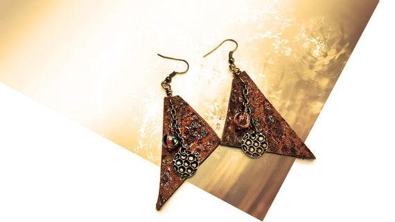 Geometric long leather tribal style earrings