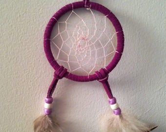 Dreamcatcher, Purple Leather with White Feathers