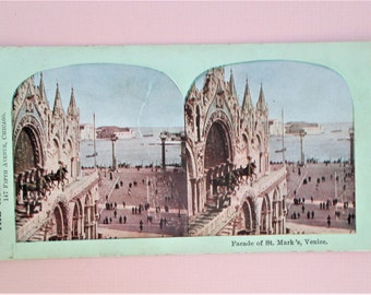 Venice Antique Atlas Stereograph St Mark's Facade Rare Atlas View Company Chicago Vintage Steroview Card in Sepia Collectible Vintage Photo