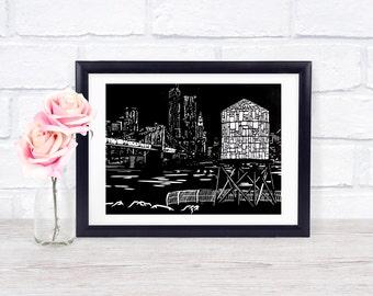 Brooklyn Bridge Park - Water Tower - Linocut Print