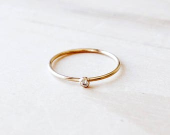 R1087 New Gold Filled Solo Clear Bezel Stone Ring, Rose Gold Filled