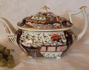 Antique Royal Crown Derby Imari 5 Cup Teapot - Circa 1806-1825 Red Hand Written Mark